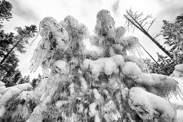 Geyser steam turning into ice crystals