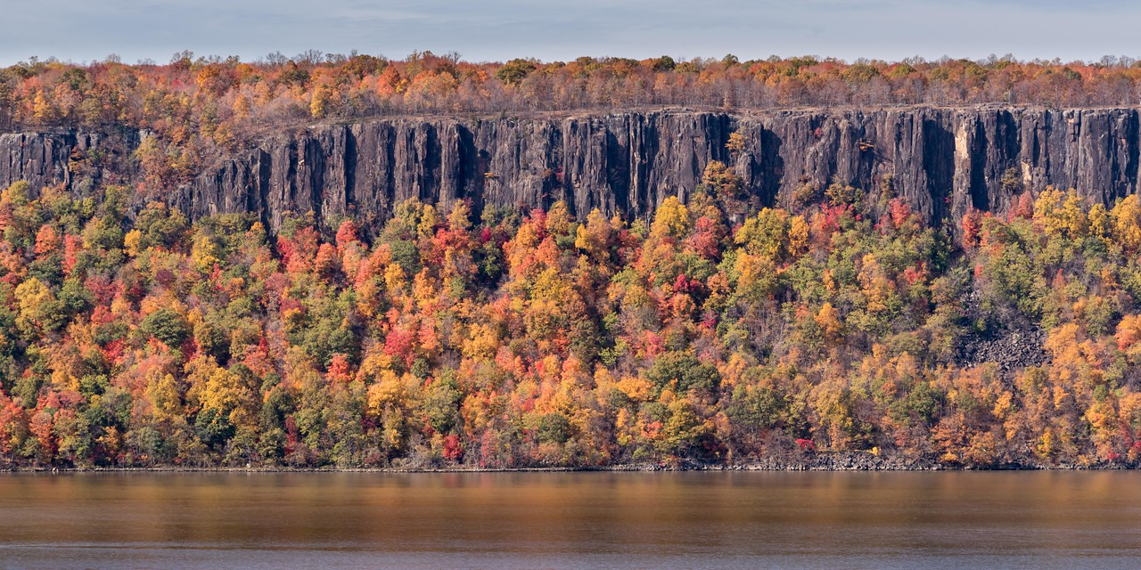 The Hudson River Palisades on a beatiful fall day.