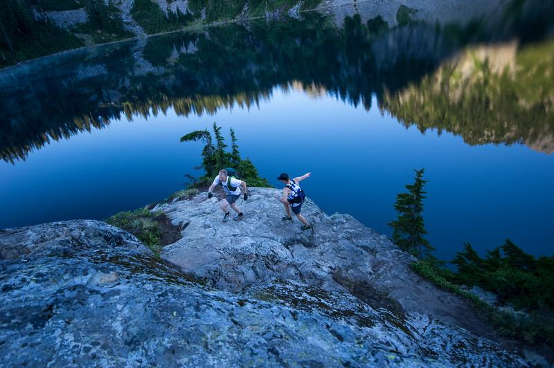 Trail runners above Snow Lake, Alpine Lakes Wilderness, WA