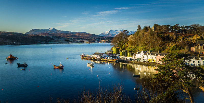 View on to Portree Harbor, Isle of Skye