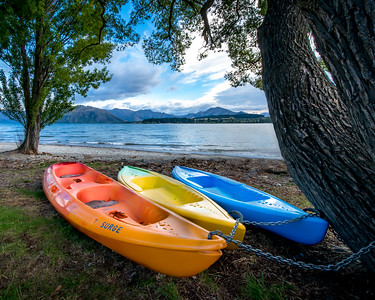 Kayaks at Lake Wanaka, New Zealand