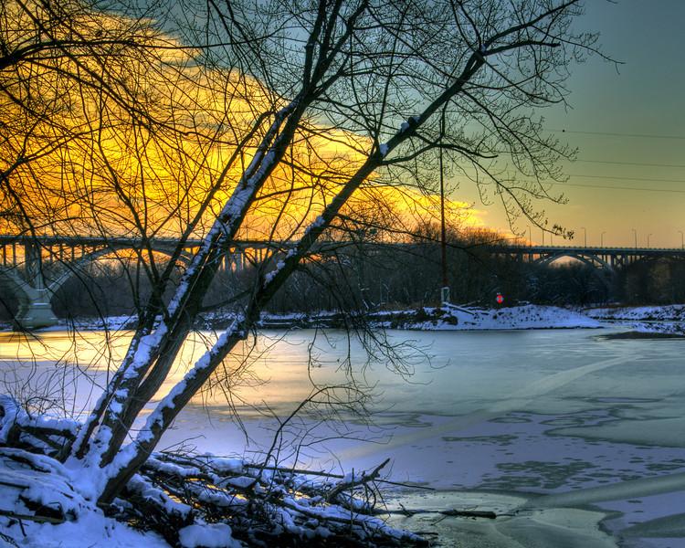 Sunset over the frozen Minnesota River