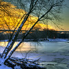 Sunset over the frozen Minnesota River