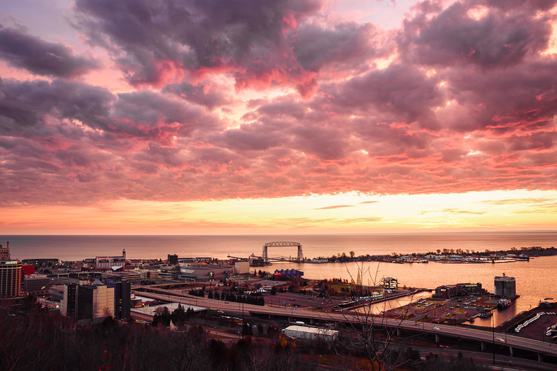 Halloween sunrise over Canal Park and Duluth harbor 01