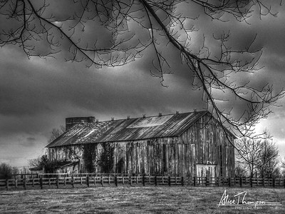 Barn in Black & White - Georgetown, KY