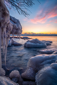 Icy Dawn on Lake Michigan