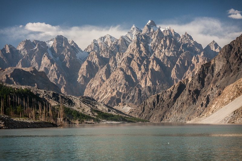 Passu Cathedrals tower over Attabad Lake in Gojal, Gilgit Baltistan