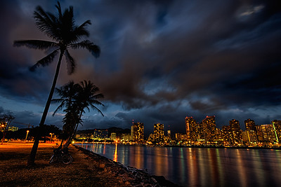 Nightscape of Downtown Waikiki