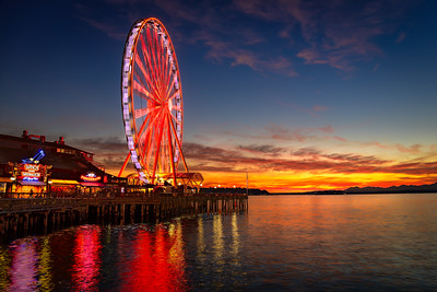 Seattle Great Wheel Sunset