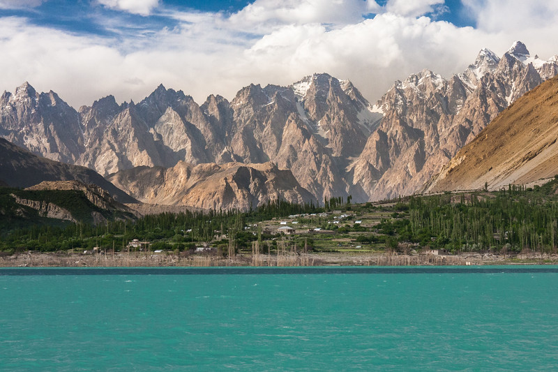 Passu Cathedrals provide an impressive backdrop to Attabad Lake in Gojal, Gilgit Baltistan