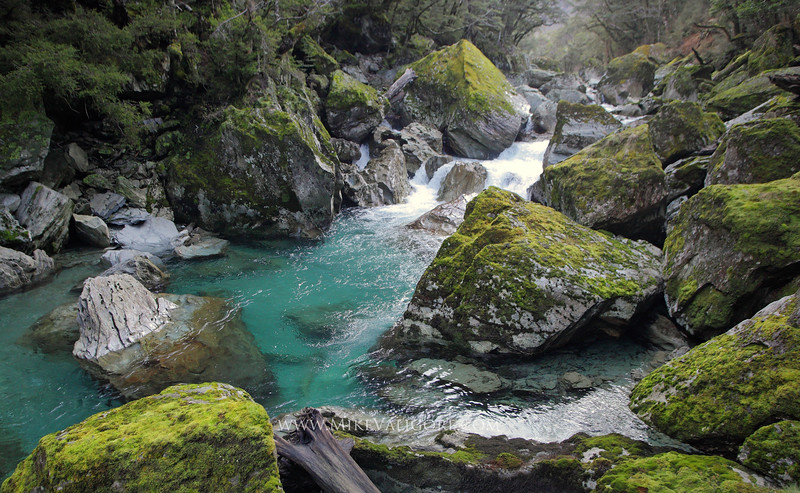 Routeburn River<br /> <br /> The greenish-blue hue of New Zealand's Routeburn River is perfect compliment to its mossy-green rocks.