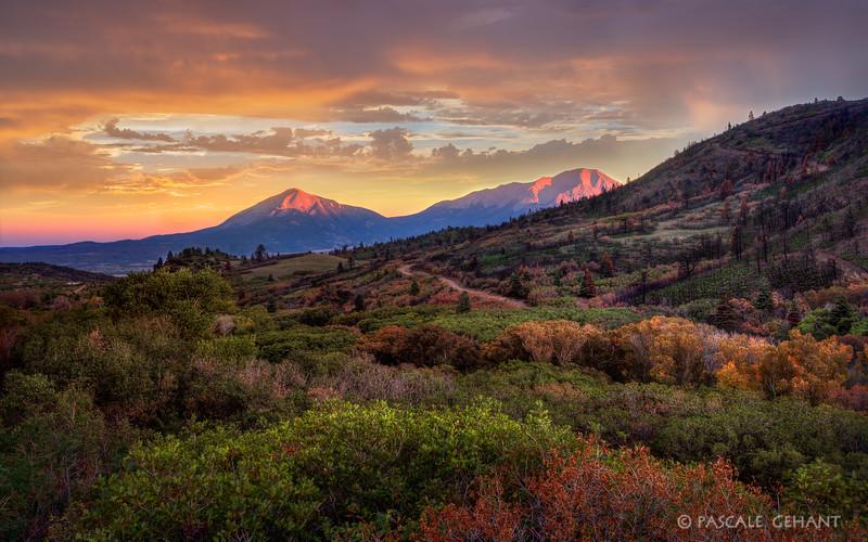Spanish Peaks at dusk