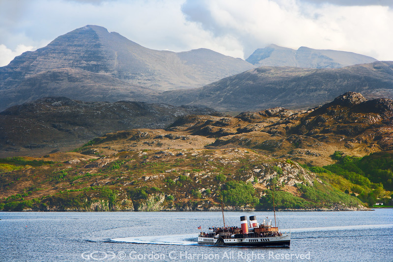 Photo 2897 Waverley paddle steamer at Loch Gairloch & Torridon hills beyond