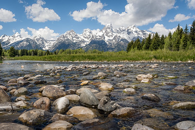 The Teton Range viewed from the Snake River at Schwabacher Landing in Grand Teton National Park, Wyoming.