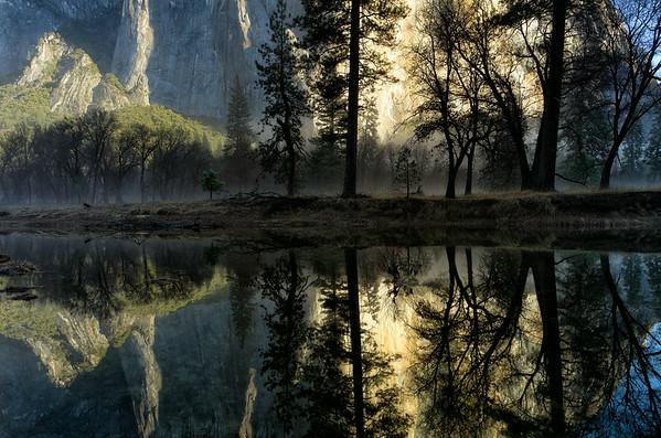 Sunrise Shadows and Mist