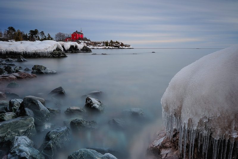 Marquette Lighthouse in Winter