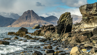 Elgol Rock and Cuillin Mountains viewed from Elgol, Isle of Skye, Scotland