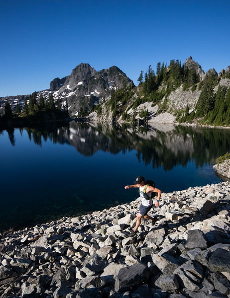 Trail runner by Snow Lake, Alpine Lakes Wilderness, WA