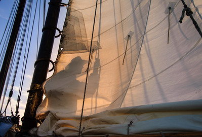 """Captain Jack Moore on an afternoon sail of the """"Surprise""""; a 57ft. schooner out of Camden, Maine.  http://www.camdenmainesailing.com/aboutsurprise.html"""