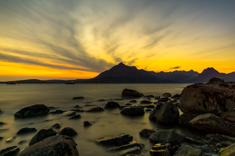 Sunset over the Cuillin Mountains viewed from Elgol, Loch Scavaig, Isle of Skye, Scotland