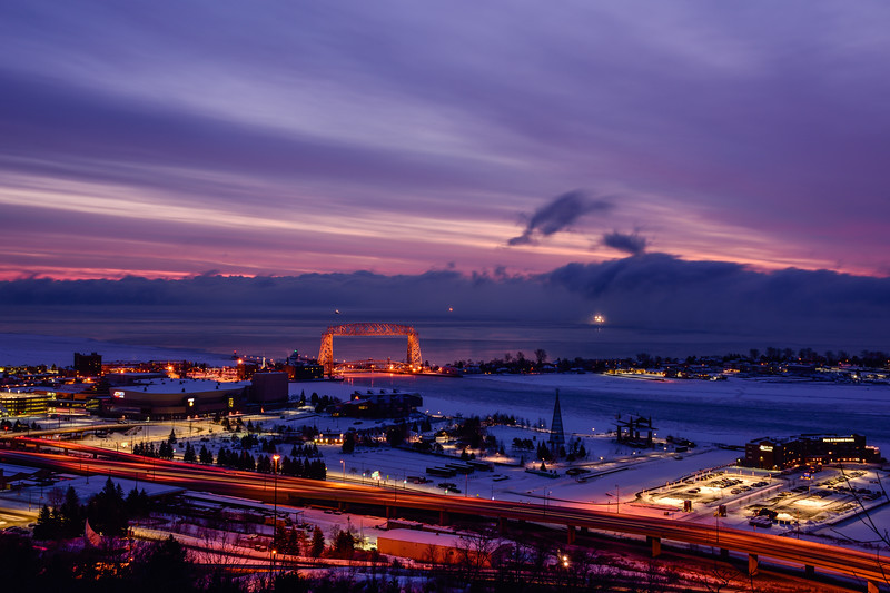 Winter blue hour over Duluth's waterfront 01