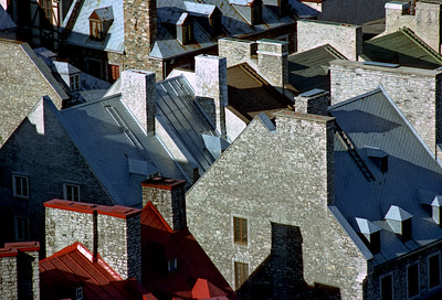 Old Quebec Roof Lines - May 1982, Quebec City (lower town) on Kodachrome with Canon F-1.