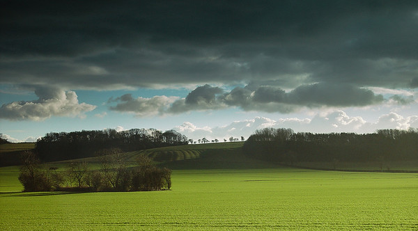 Spring, and a storm brewing over Sibbertoft, Northamptonshire.
