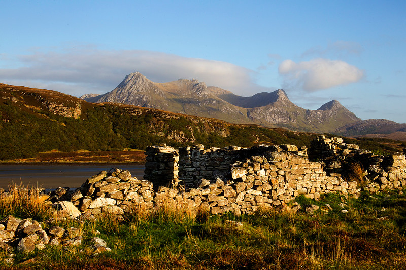 Old Croft House with Ben Loyal Mountain  in  Sutherland behind. John Chapman.