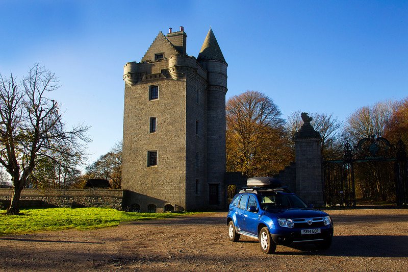 My Car at the Tower. Dunecht Estate. John Chapman.