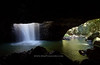 Natural Bridge Waterfall<br /> <br /> At this delightful spot in Springbrook Park in Queensland, the stream falls through the roof of a cave.