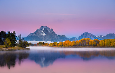 Oxbow Bend, Grand Tetons At Dawn