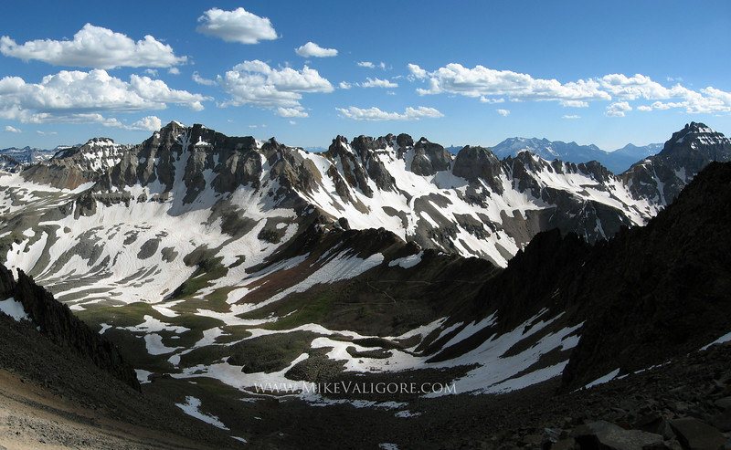 Dallas Divide<br /> <br /> Hiking up to the summit of Colorado's Mt Sneffels in late spring offers exceptional views across Dallas Divide.
