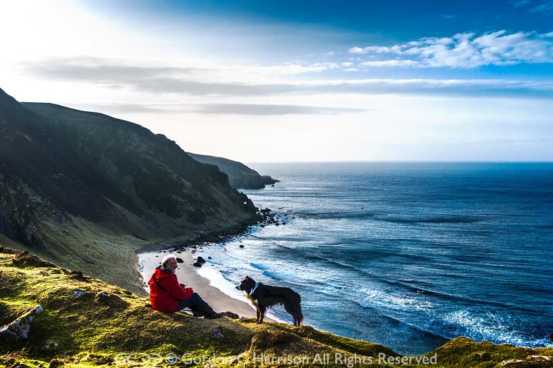 Photo 3338: Old Man and Dog at Camas Mor