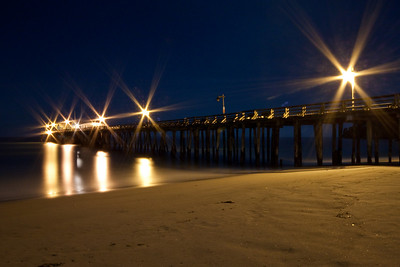Capitola Beach by moon light.  Ranga and me headed out around midnight to Capitola Beach. Armed with GPS co-ordinates of this location we were able to get to the pier and park there precisely. No seedy folks around thankfully! We couldn't get any shots with the moon in them, but the pier itself was nicely illuminated.  This was a 8 minute exposure at f/29.
