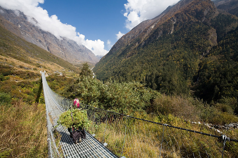 A woman crosses a suspension bridge near Ghora Tabela. / Langtang Himal, Nepal