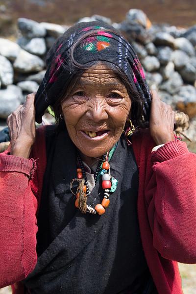 An elderly woman on the trail to Langtang Village. / Langtang Himal, Nepal