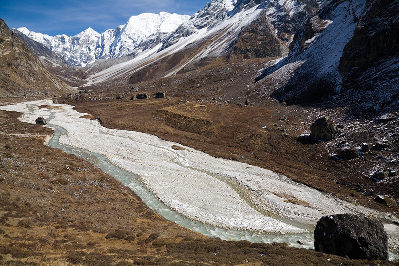 The Langtang Khola flows past the summer grazing area of Langshisa Kharka in the Upper Langtang Valley. / Langtang Himal, Nepal