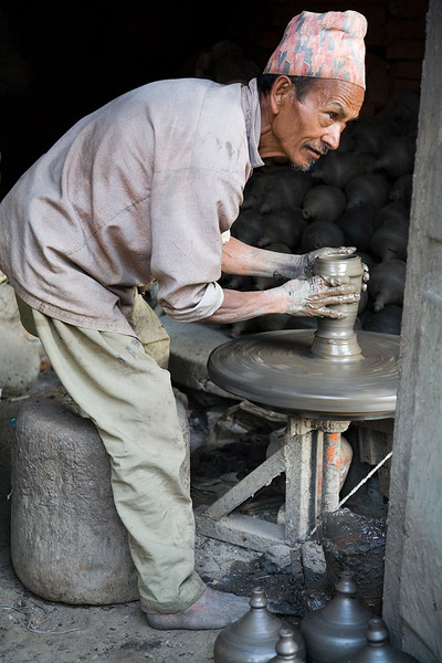 A potter making ceramic vessels in Bhaktapur. / Kathmandu, Nepal