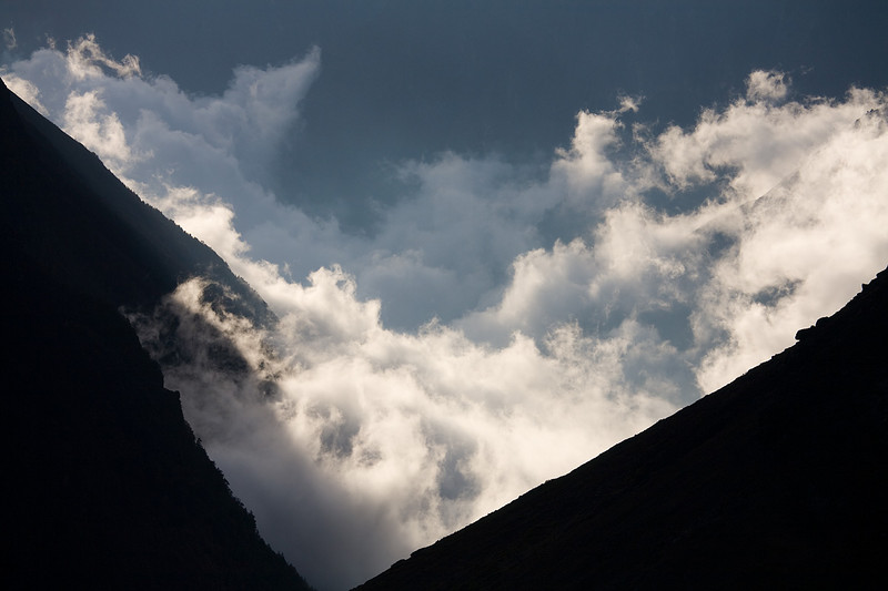 Afternoon clouds dissipating over the Lower Langtang Valley. / Langtang Himal, Nepal