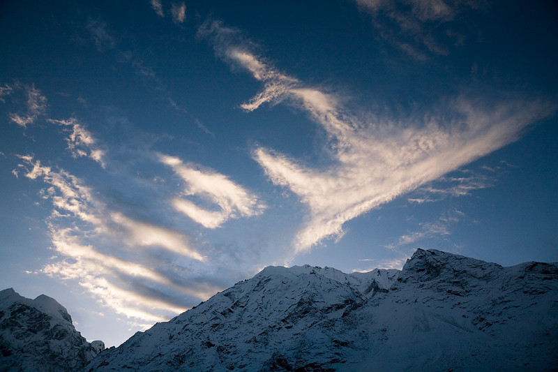 Clouds streak the early morning sky in the Upper Langtang Valley. / Langtang Himal, Nepal
