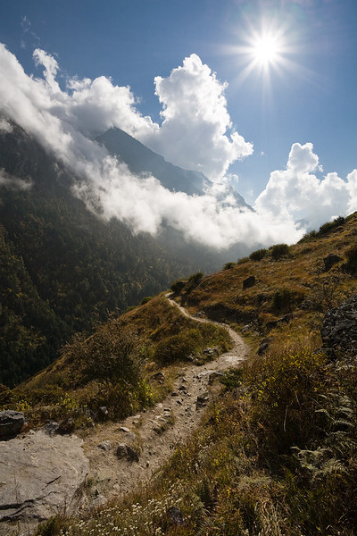 A view along the main path that leads into the Upper Langtang Valley. / Langtang Himal, Nepal