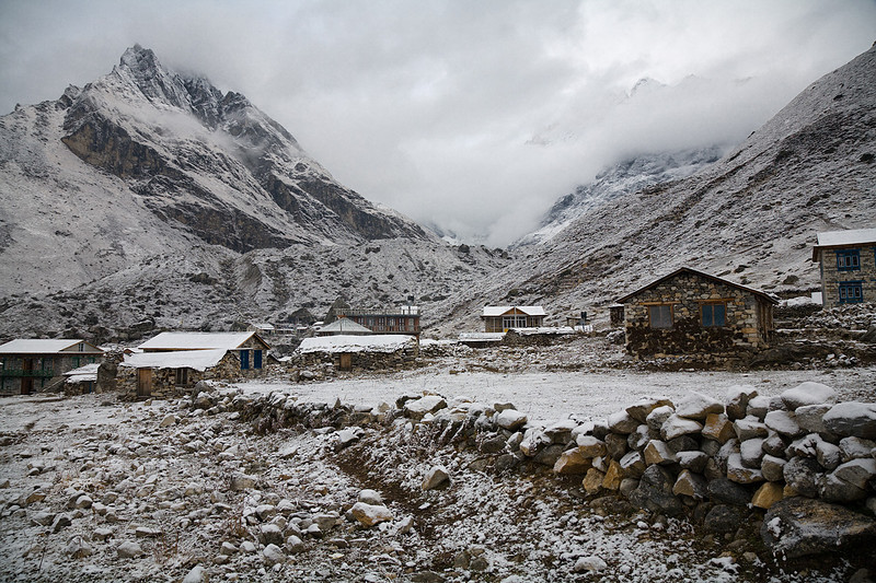 The village of Kyanjin Gompa with a light dusting of snow. / Langtang Himal, Nepal