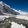 The glacier-clad summit of Pongen Dopku overlooks the icy waters of the Langtang Khola. / Langtang Himal, Nepal