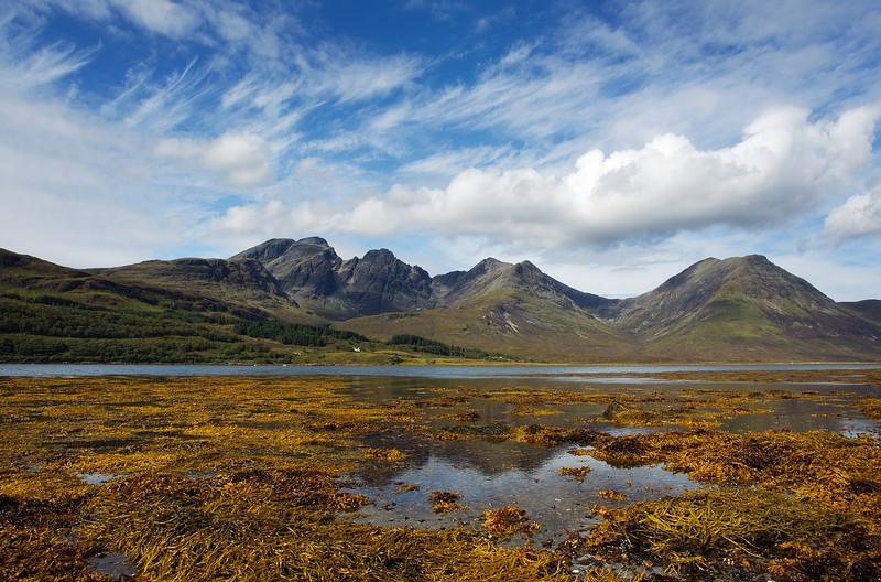 Loch Slapin with Bla Bheinn Mountain behind. Cuillin Hills.  Island of Skye Scotland.