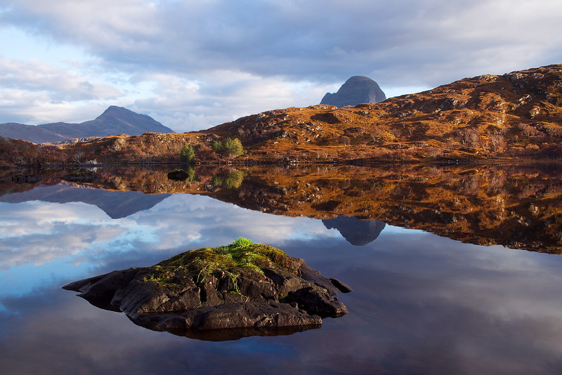 Mountain from the left is Canisp and then Suilven. Assynt. Sutherland. Scotland.