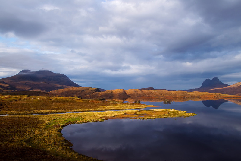 From the left the Mountain of Cul Mor then Suilven. Assynt. Scotland.