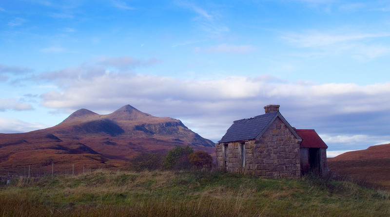 Old ruin at Elphin. Culmor in the background. Assynt. Sutherland. Scotland.
