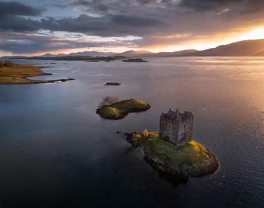 Evening light, Castle Stalker, Scottish highlands