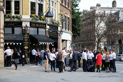 The after-work scene on any nice day, outside every single pub.