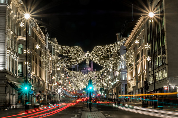 At Christmas time, London sparkles at night.